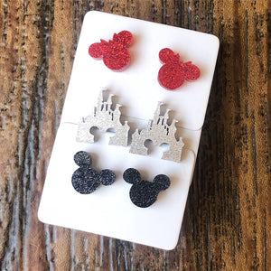 Set of 3 Red Minnie, Silver Castle, & Black Mickey Glitter Acrylic Studs