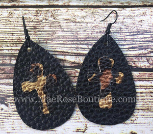 Cheetah Cross on Black Faux Leather Dangles