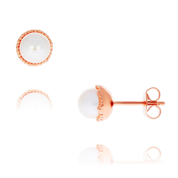 Olivia Sterling Silver Rose Gold Plated White Freshwater Pearl Studs With Milgrain Edge