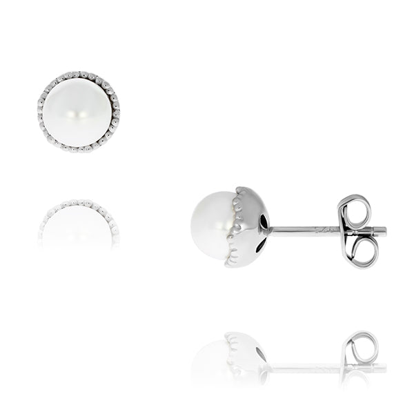 Olivia Sterling Silver Rhodium Plated White Freshwater Pearl Studs With Milgrain Edge