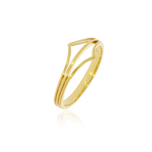 Yellow Gold Plated Split Point Ring