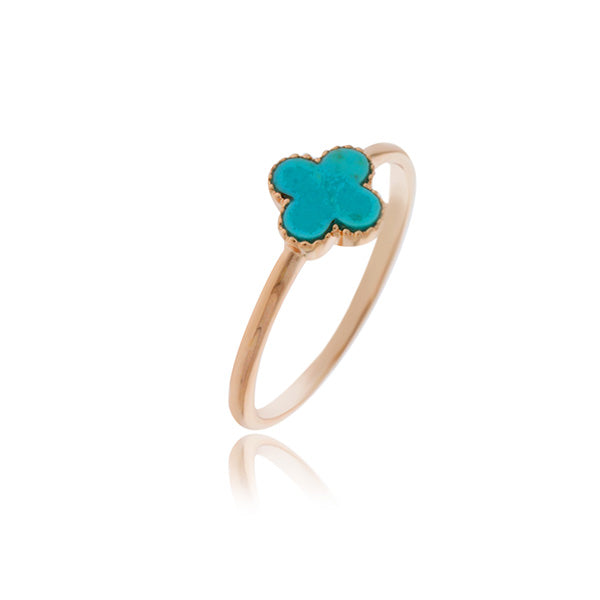 Rose Gold Plated Small Cross Ring With Turquoise - Stacker Ring