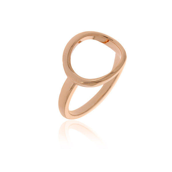 Rose Gold Plated Open Oval Ring