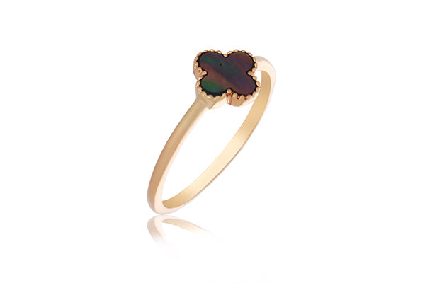 Rose Gold Plated Small Cross Ring With Black Mother Of Pearl - Stacker Ring