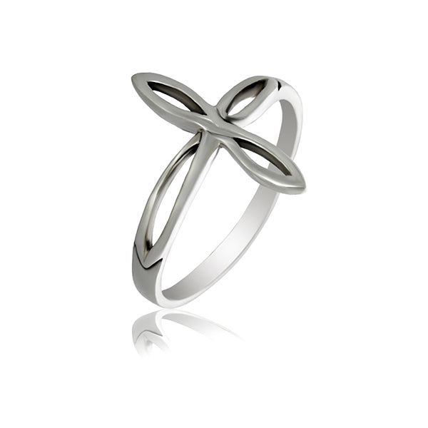 Silver Elongated Loops Ring