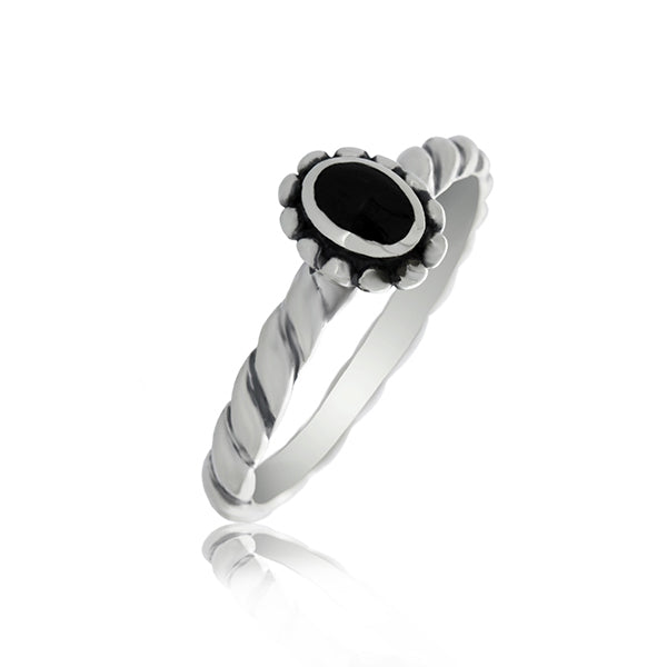 Silver Twist Band Ring With Onyx - Stacker Ring