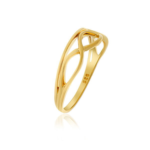 Onatah Yellow Gold Wavy Lines Ring