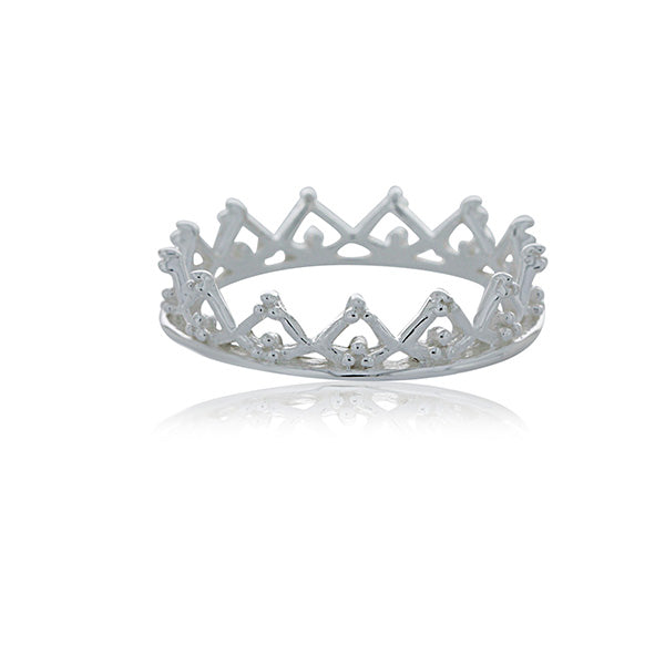Silver Beaded Crown Ring - Stacker Ring