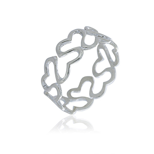 Silver Joined Heart Ring