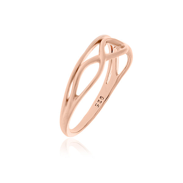 Rose Gold Plated Wavy Lines Ring