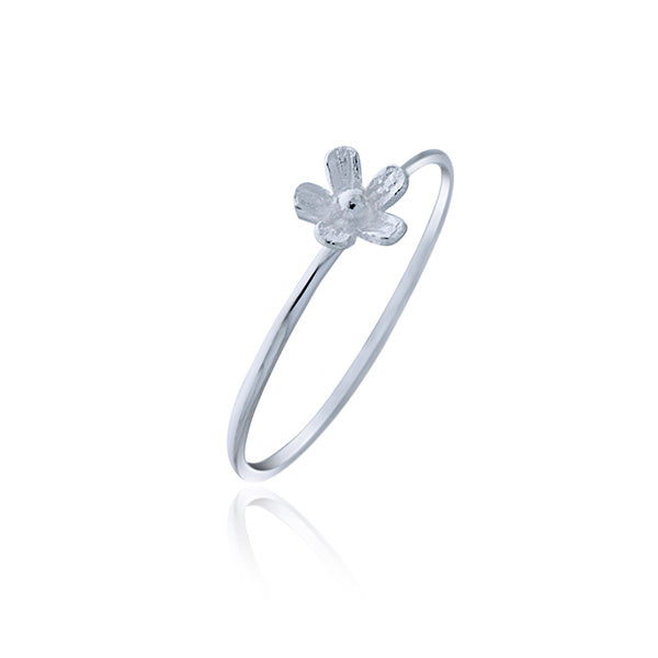 Silver Small Flower Ring - Stacker Ring