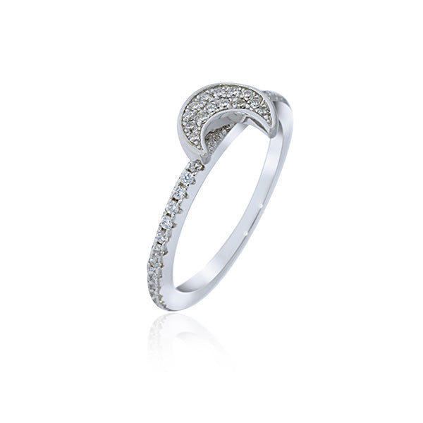 Silver Crescent Moon Cubic Zirconia Ring