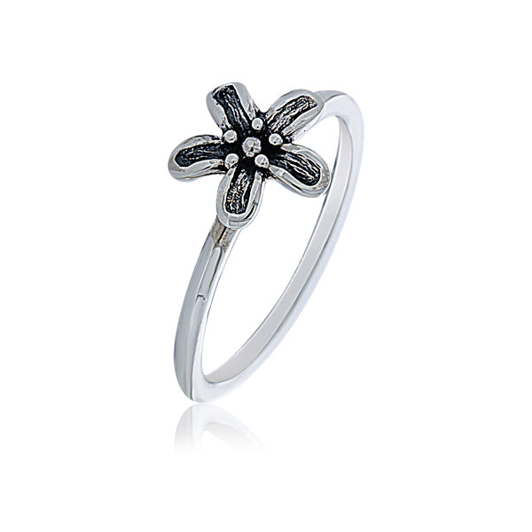 Silver Flower Power Ring - Stacker Ring