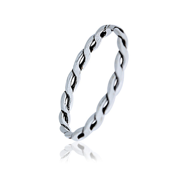Flat Twist Braided Band Ring - Stacker Ring