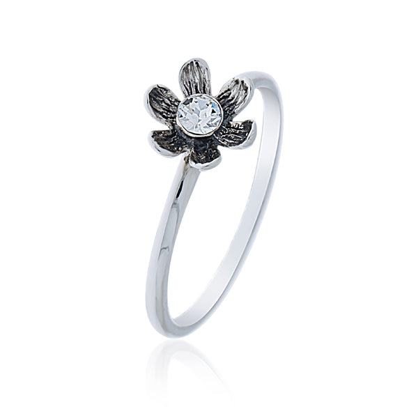 Large Daisy Ring Set With a Rhinestone - Stacker Ring