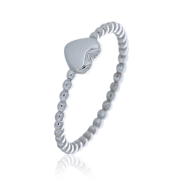 Silver Heart Ball Band Ring - Stacker Ring