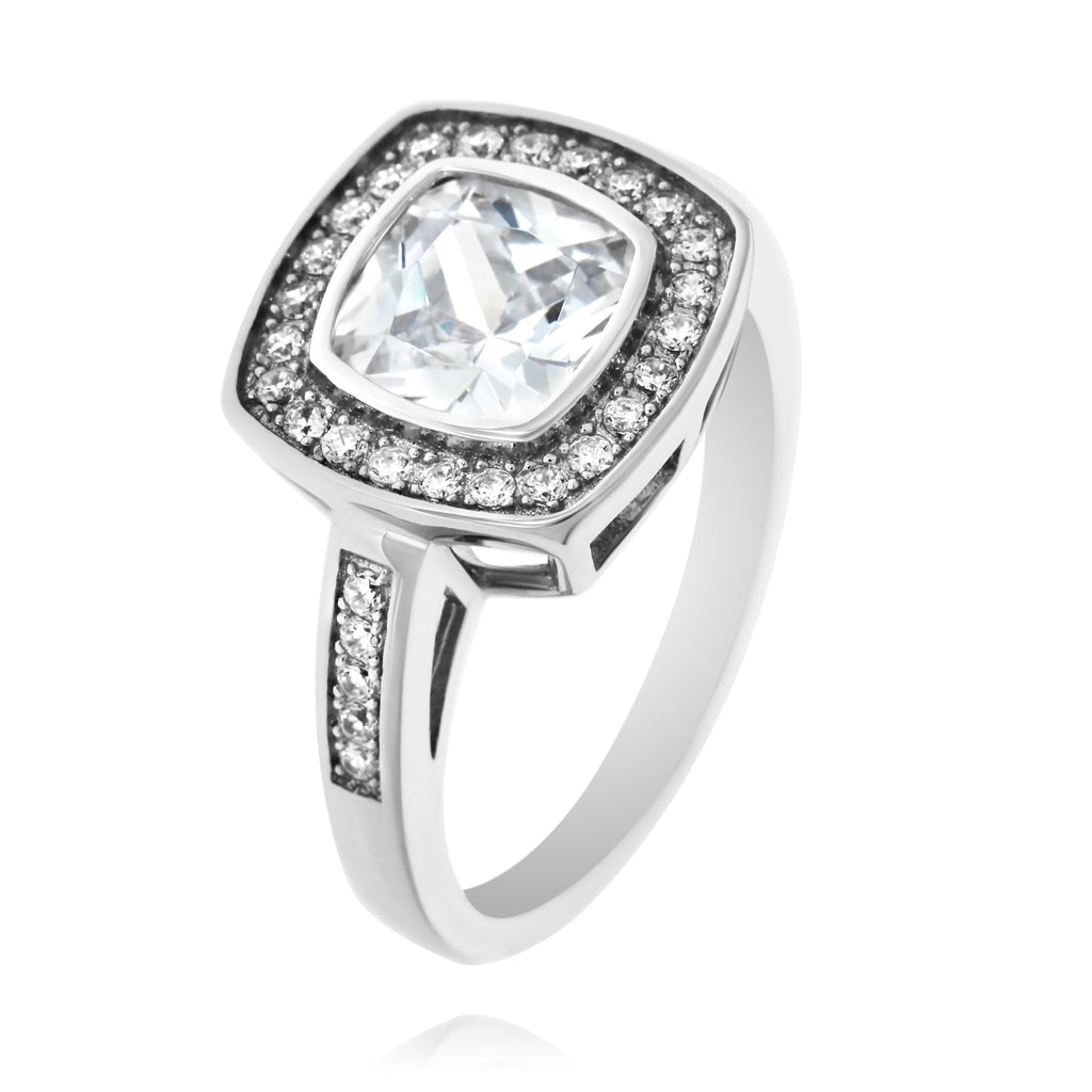 Silver Cushion Cubic Zirconia Halo Ring
