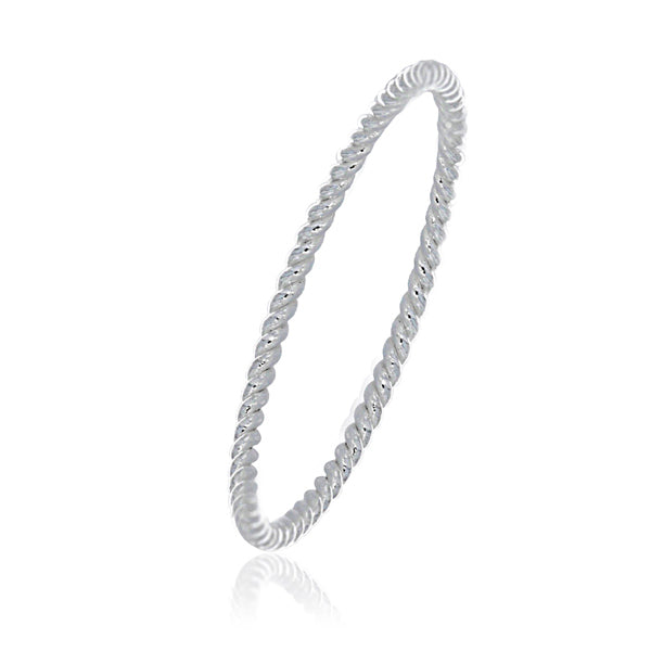 Silver Faceted Ball Ring - Stacker Ring