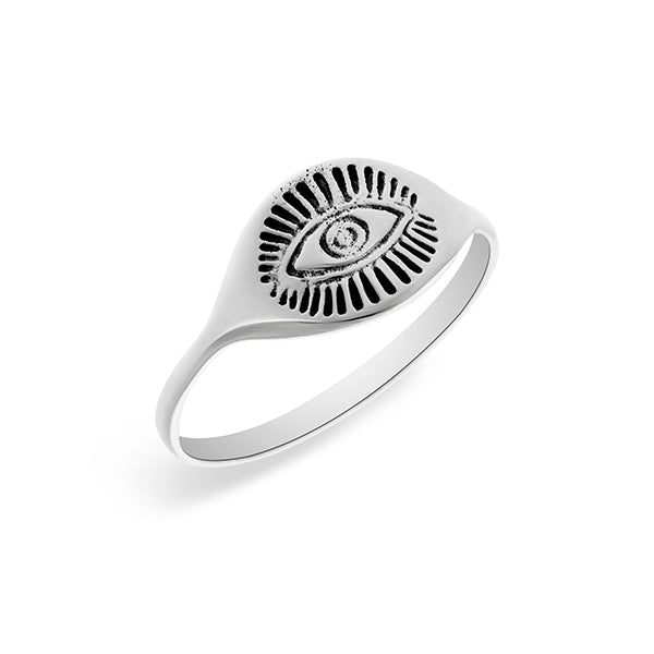 Silver Signet Ring With Eye