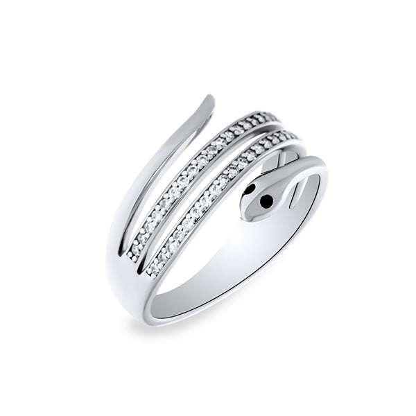 Silver CZ Coiled Snake Ring