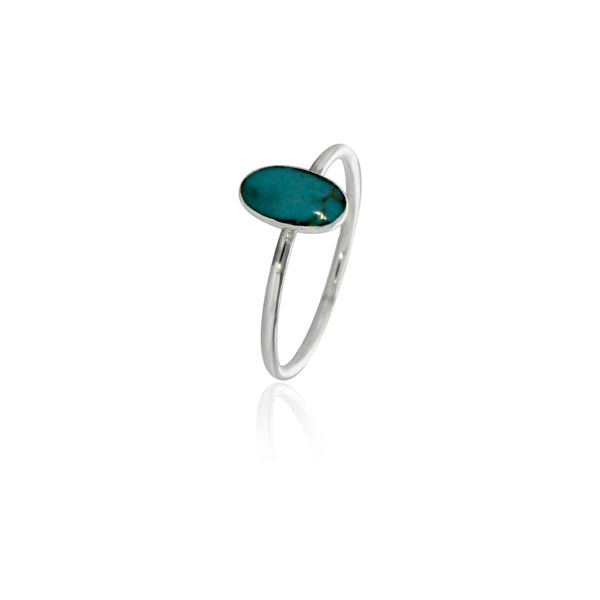 Silver Long Oval Turquoise Ring