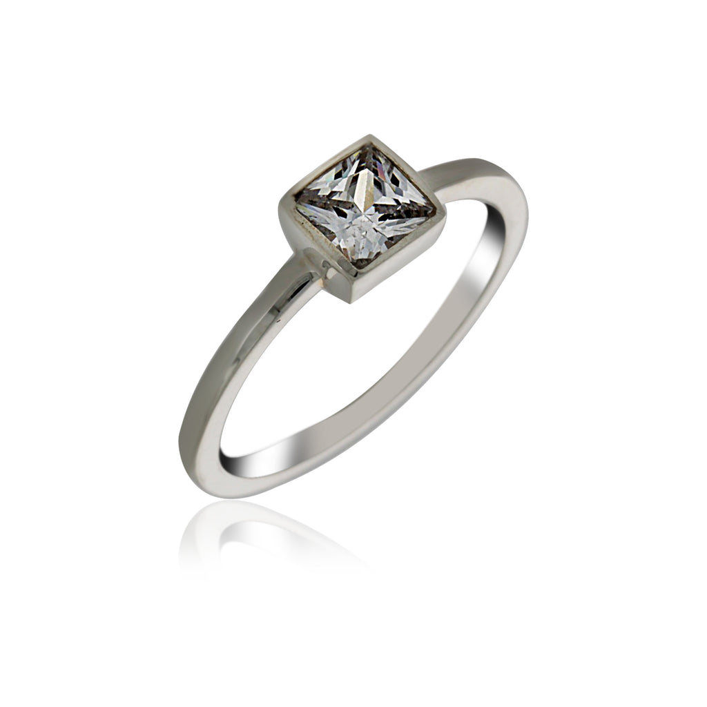 Silver Solitaire Square Ring With CZ