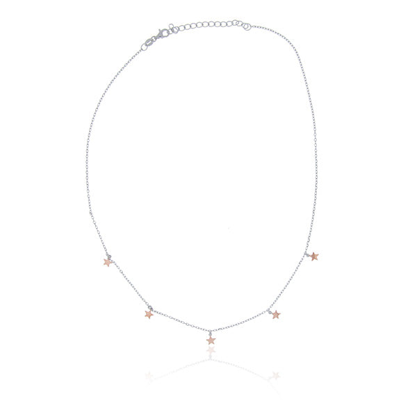 Rose Gold Plated 5 Star Choker Necklace
