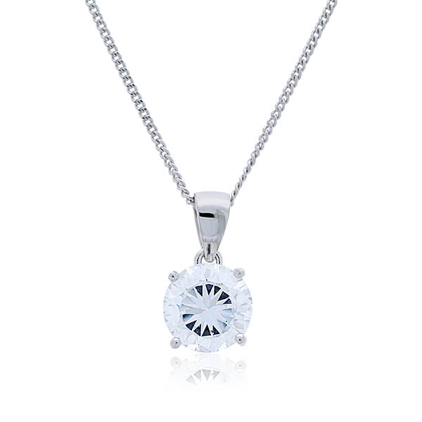 Sterling silver rhodium plated 8mm round cubic zirconia pendant