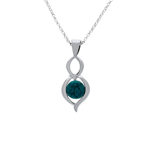 Silver Double Drop Pendant With Round Turquoise