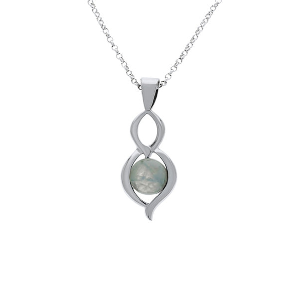 Silver Double Drop Pendant With Round Moonstone