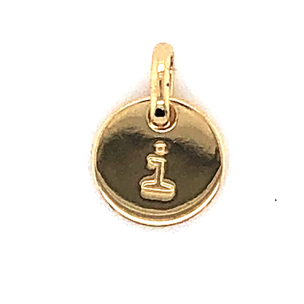 Mojo Yellow Gold Plated Initial I Charm