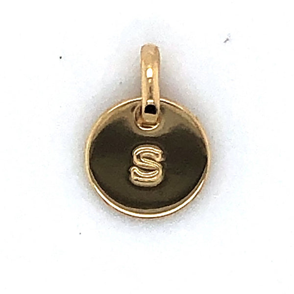 Mojo Yellow Gold Plated Initial S Charm