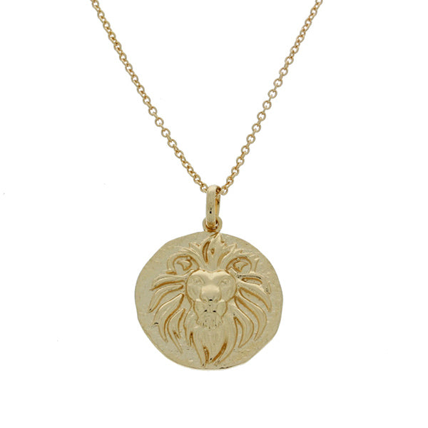 Mojo Yellow Gold Plated Brass Pendant Featuring A Lion