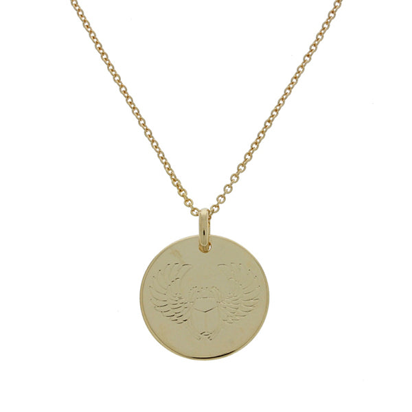 Onatah Mojo 18Ct 3 Micron Gold Plated Brass Polished Disc Pendant Featuring Egyptian Scarabee