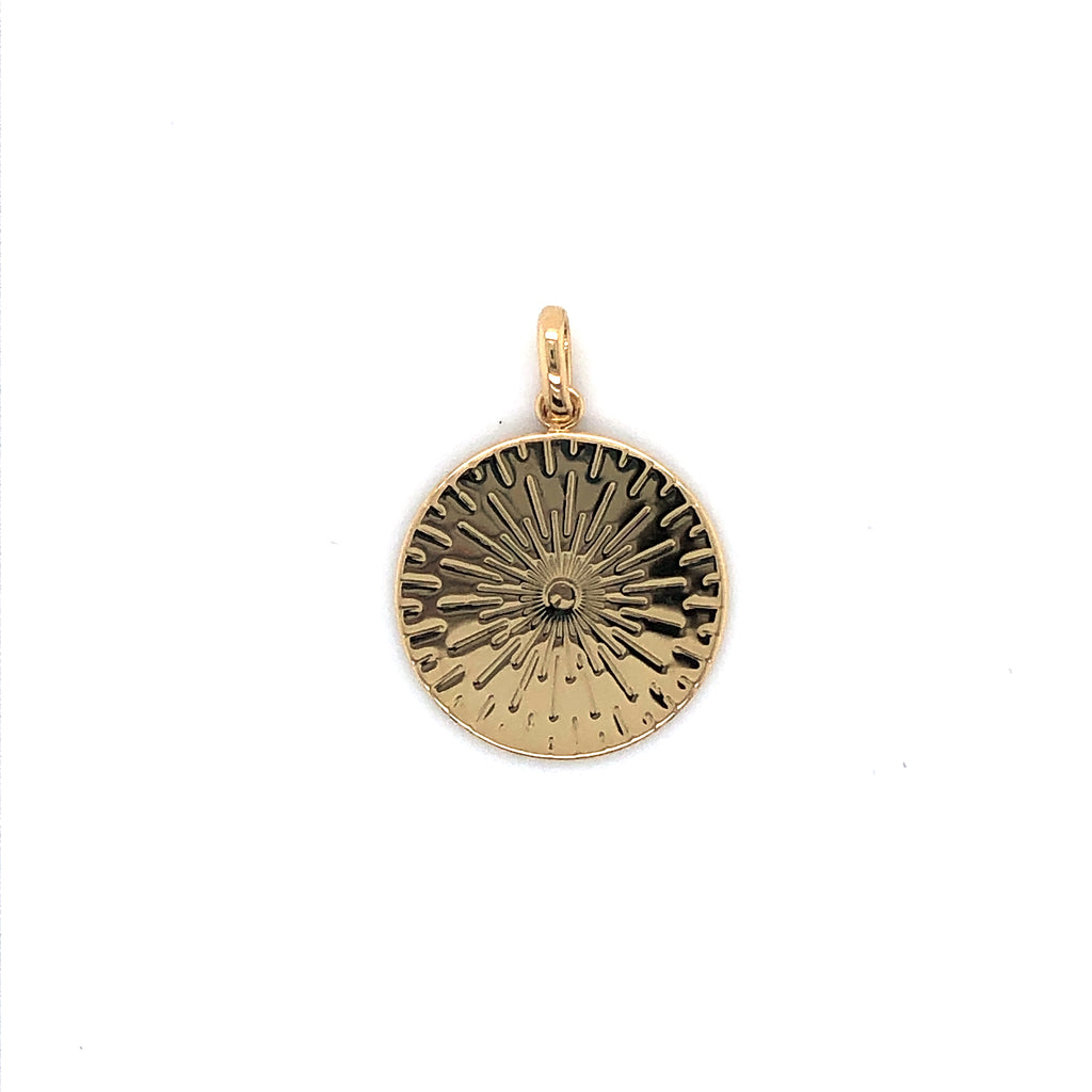 Mojo Gold Plated Disc Pendant Featuring Engraved Lines