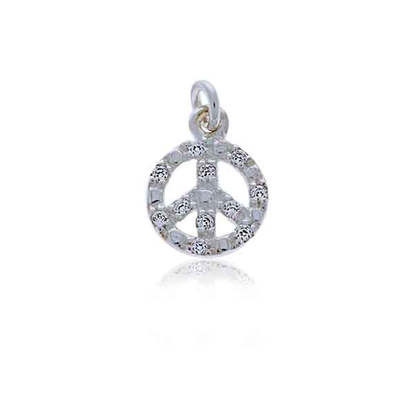 Mojo Silver CZ Peace Sign Charm