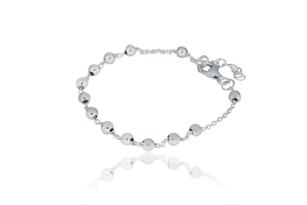 Silver Ball on Chain Bracelet Ball