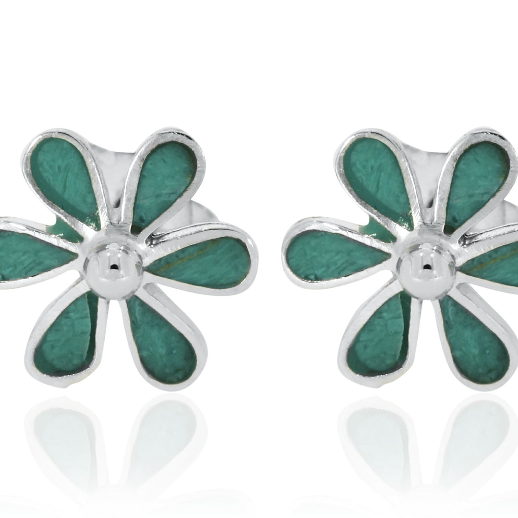 Silver Turquoise Flower Studs