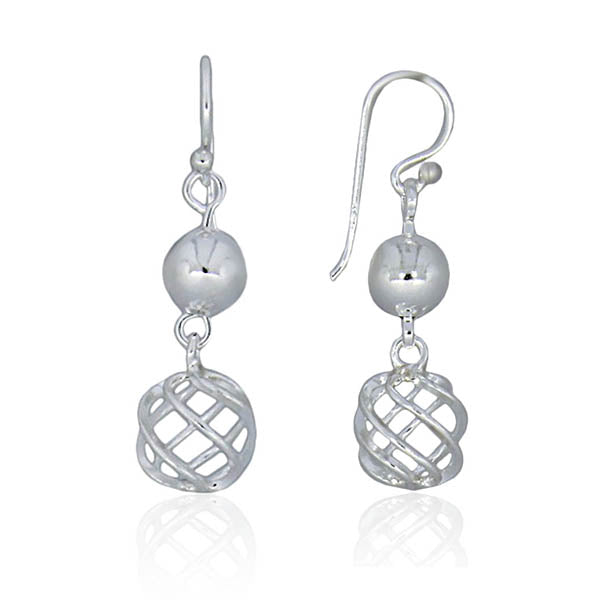 Silver Open Wire Ball And Solid Ball Earrings