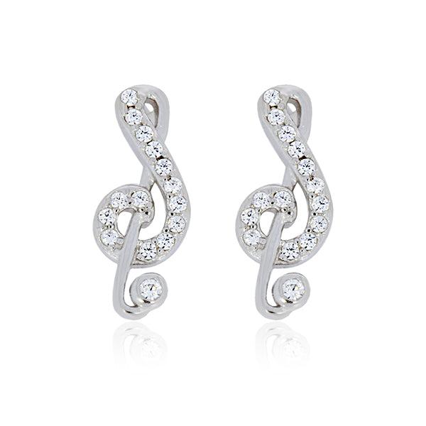 Silver Treble Clef Stud Earrings With Cubiz Zirconias