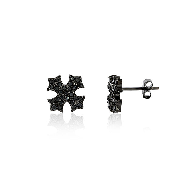 Black Rhodium Plated Maltese Cross Studs With Black CZ