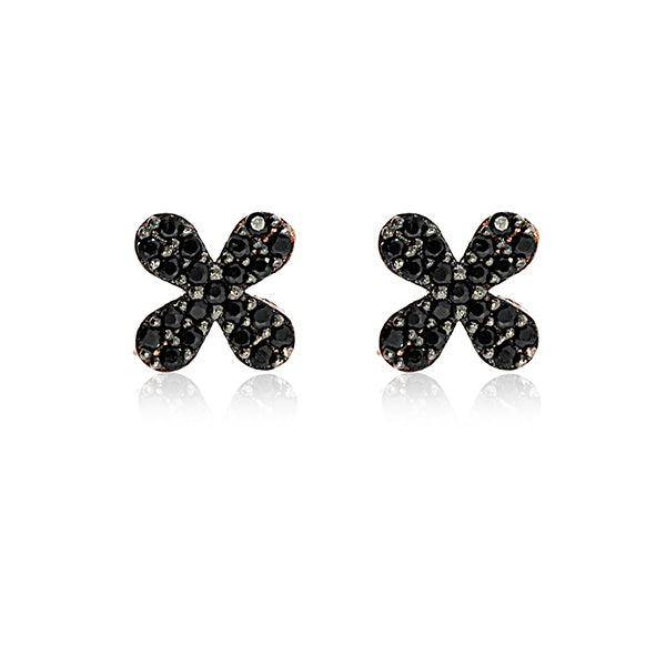 Rock Chick Rose Gold Plated Small Flower Stud Earrings With Black Czs