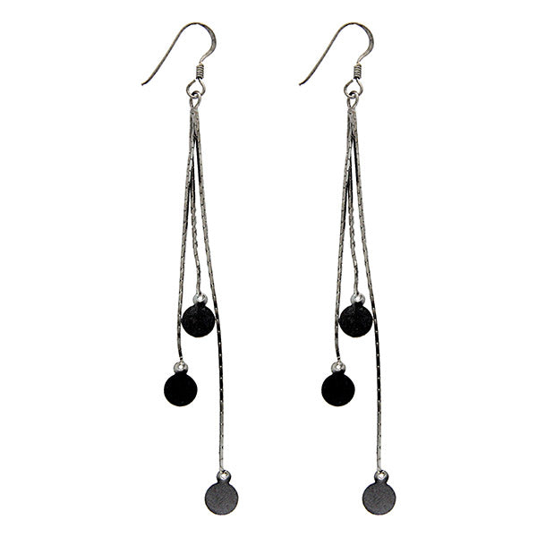 Black Rhodium Plated Triple Strand Drop Earrings