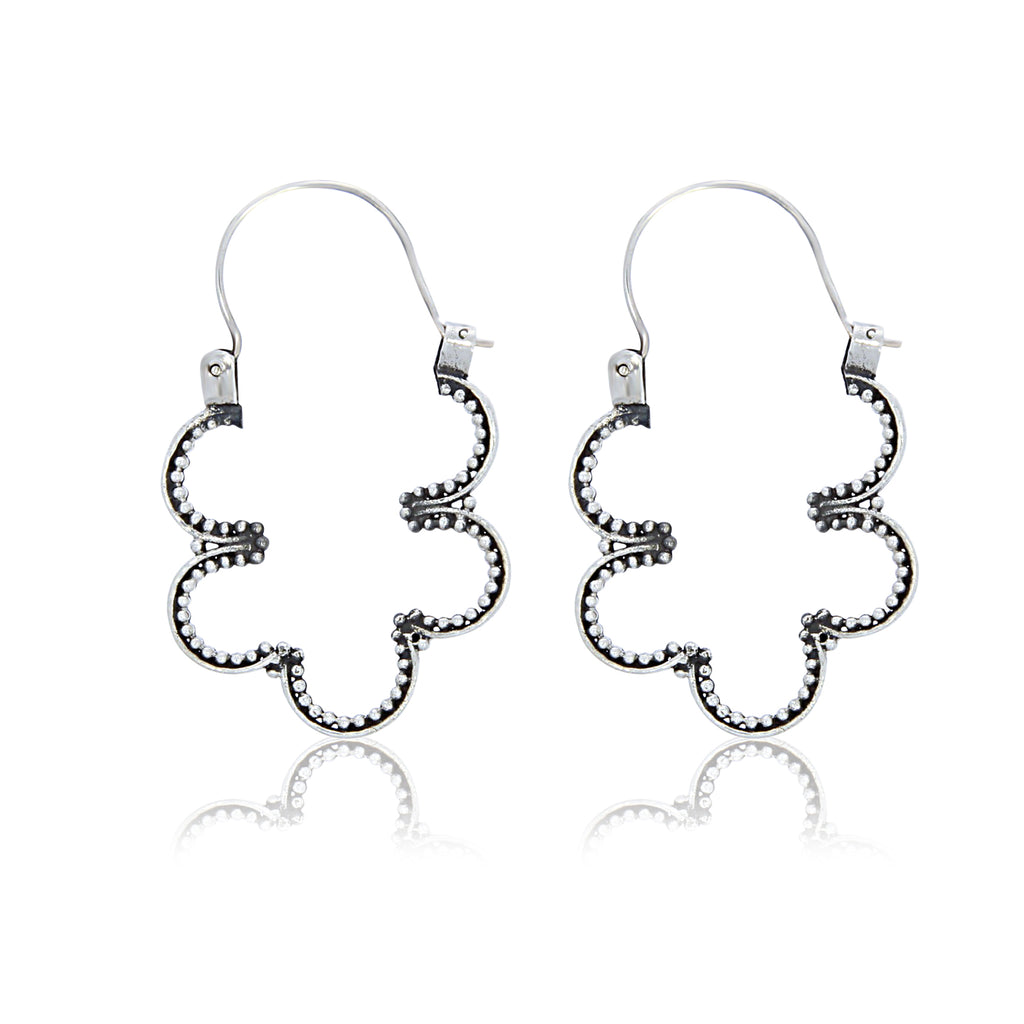 Silver Oxidised Open Beaded Wave Earrings