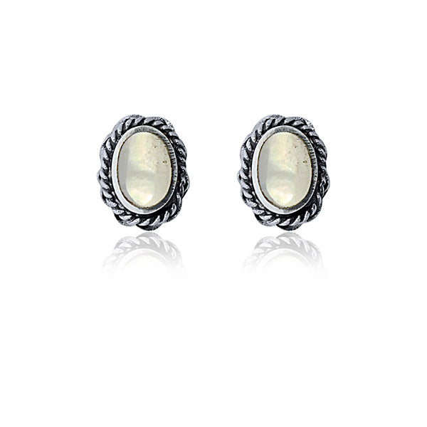 Sterling Silver White Mother Of Pearl Stud Earrings