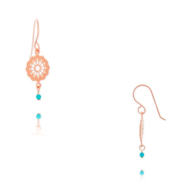 Rose Gold Plated Filigree Disc Drop Earrings With Blue Bead