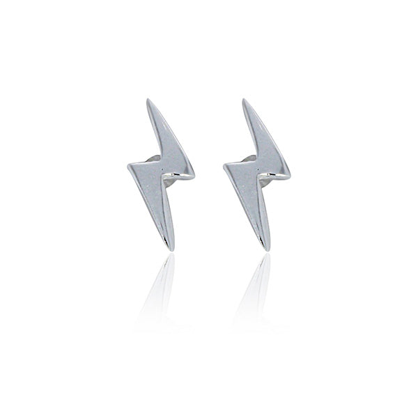 Rock Chick Sterling Silver Tiny Lightning Bolt Stud Earrings