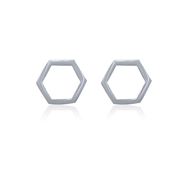 Silver Open Hexagon Studs