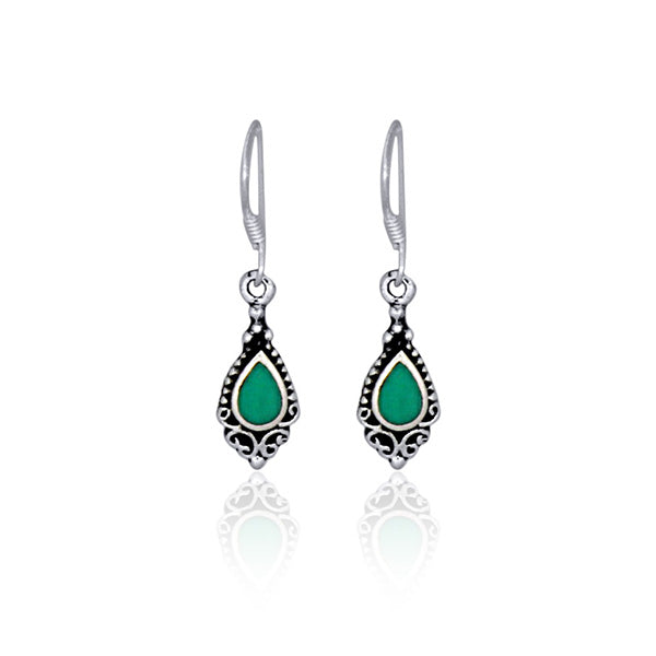 Silver Filigree Drop Earrings With Turquoise