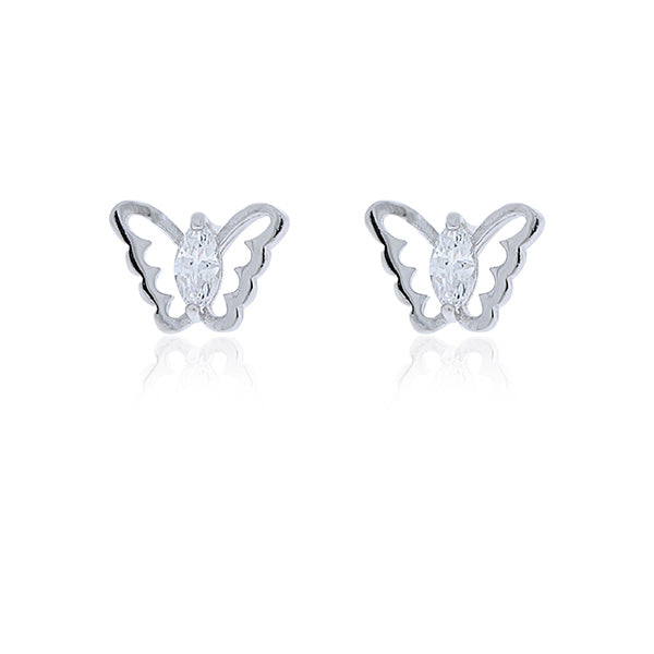 Sterling Silver Butterfly Stud Earrings With Marquise Shaped Cz